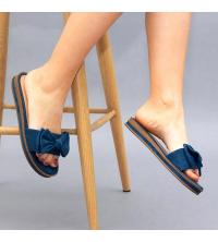 Claquette LC 03 Bleu - Nubuck - Papillon Design - Plat - Pour Femme