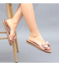Claquette LC 03 Rose - Nubuck - Papillon Design - Plat - Pour Femme
