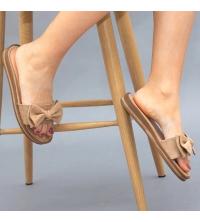 Claquette LC 03 Beige - Nubuck - Papillon Design - Plat - Pour Femme