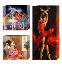 Tableau décoratif - 3 pcs - Fille douée - 2 x 35 x 35 x 3 cm / 1 x 35 x 70 x 3 cm