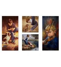 Tableau décoratif 4 pces - cube enfant doué - 2 x 35 x 35x 3 cm / 2 x 35 x 70 x 3cm