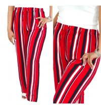 Pantalon rouge rayé noir et blanc large
