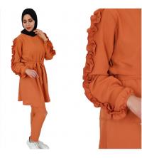 Ensemble orange-kaki voilé
