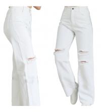 Pantalon jean Blanc large déchiré
