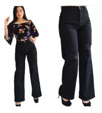 Pantalon jean noir large déchiré